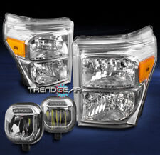 2011-2016 FORD F250 F350 F450 F550 SUPER DUTY CRYSTAL HEAD LIGHT +LED FOG CHROME