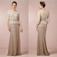 Mermaid Mother of the Bride Dresses Wedding Formal Evening Gown Long Sleeve Lace
