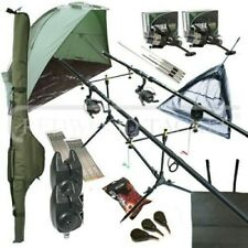 Deluxe Full Carp Fishing Set up With 2 x Rods Reels Alarms Pod Tackle & Bait