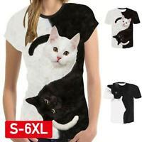 Women Fashion 3D Cat Print Casual T-Shirt Summer Short Sleeve O-neck T-Shirt .
