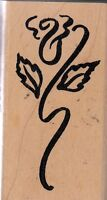 "fancy rose denami design Wood Mounted Rubber Stamp 2 1/2 x 1 1/2"" Free Ship"