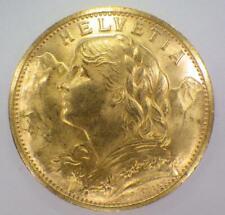 1927 B Gold Coin 20 Twenty Swiss Francs French Switzerland AU/BU Helvetia Stars