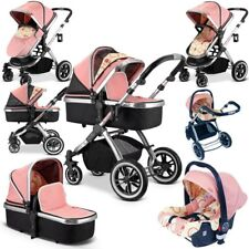 Ivogue Peach Pink Luxury 3 In1 Pram Stroller Travel System Carseat by iSafe