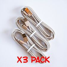 3 PACK 6FT iPhone X 8 7 6 5 USB Charging Cable Nylon Braided Heavy Duty GOLD
