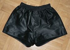 Men's Black Real Full Leather Shorts Pants Trouser W32 gay interest