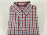 Mens Brooks Brothers Small Sky Blue Coral Bright No-Iron Trad Fit Plaid LS Shirt