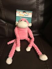ZippyPaws Spencer The Crinkle Pink Monkey Squeaks Small