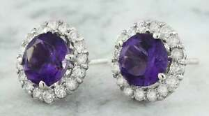 2Ct Round Cut Amethyst & Diamond Halo Stud Earrings Solid 14K White Gold Finish