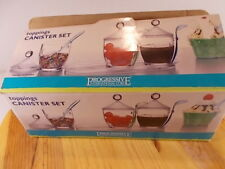 NEW IN BOX PROGRESSIVE INTERNATIONAL TOPPINGS CANISTER SET WITH LIDS AND SPOONS