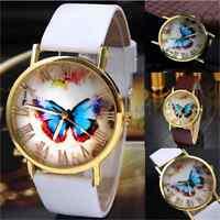 Fashion Butterfly Womens Ladies Watches Leather Strap Analog Quartz Wrist Watch