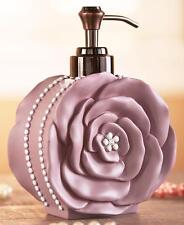 VINTAGE COUTURE ROSE SHAPED BATHROOM SOAP LOTION PUMP DISPENSER BATH DECOR