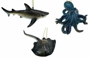 Globe Imports - Beach Life Christmas Ornaments Bundle - 1 Octopus 1 Shark and...