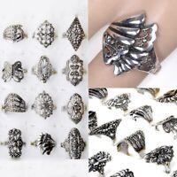 10pcs Fashion Wholesale Bulk Jewelry Lots Mixed Style Tibet Silver Vintage Rings