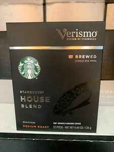 STARBUCKS Verismo House Blend Coffee Medium Roast Pods 12 ct Best By 8/2019