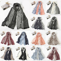Women Plaid Striped Hijab Shawl Wrap Headscarf Scarves Cotton linen Scarf Muslim