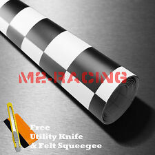 "*60""x180"" Black White Checker Racing F1 Auto Car Vinyl Wrap Sticker Decal Sheet"
