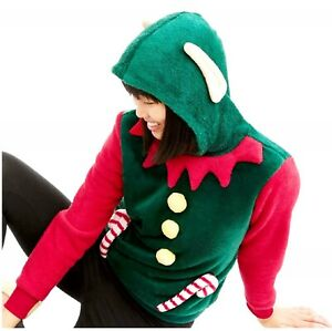 CHRISTMAS Junior Girl's size S(3-5) ELF PULLOVER HOODIE Fleece ~ New with Tags