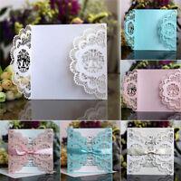10Pcs Wedding Invitation Card Kit Various Laser Cut Envelopes Seals Party Decor