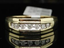 Diamond Wedding Band Mens 10K Yellow Gold Round Anniversary Ring 1/4 Tcw.