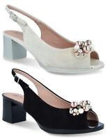 PITILLOS 5564 scarpe donna sandali tacco decollete gioiello camoscio pelle perle