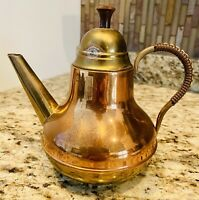 Vintage Copper Brass Lidded Coffee Pot Teapot Wrapped Handle Made in Holland MCM
