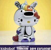 """Kidrobot x Sanrio Unicorn Hello Kitty 3"""" Figure Chrome NYCC 2019 New"""