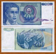 Yugoslavia, 500 Dinara, 1990, P-106, UNC > Young Man