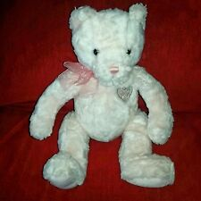 Gund Amore' Teddy Bear 13in Plush Silver Chest Heart Pink Sheer Nylon Bow 1483