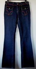 D&G Dolce & Gabbana Dark Blue Boot Cut Stretch Red Trim Jeans 28