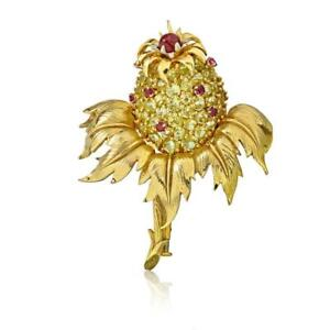 Tiffany & Co. Gold Platinum Peridot and Ruby 'thistle' Clip-brooch