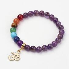 1 x 17-23cm stretch Gemstone Beaded Charm Om calm Bracelet combined post savings