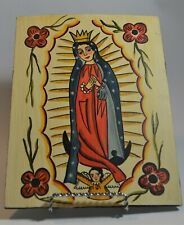 Marie Romero Cash retablo of Our Lady of Guadalupe 8 1/2 by 11 acrylic on wood