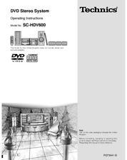 Technics SC-HDV600 SE-HDV600 ST-HDV600 SL-HDV600 RS-HDA800 DVD Manual Reprint