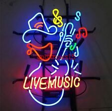 "17""X14"" LIVE MUSIC GUITAR ROCK RETRO NEON LIGHT BEER BAR PUB CLUB SIGN BL"