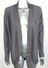 Hampshire Studio Women's Cardigan Open Front Knit Gray Curved Hem Size Medium M