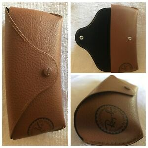 Classic LEATHER brown RAY BAN Sunglasses Eye Glasses logo Hard Case ONLY EUC