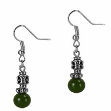Dangle Drop Beaded Jade Silver Fashion Earrings Antiqued Style Grace Of New York
