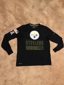 MEN'S LARGE NIKE NFL SALUTE TO SERVICE PITTSBURGH STEELERS LONG SLEEVED T-SHIRT