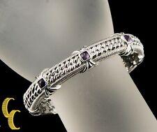 Judith Ripka argento sterling chiusura a scatto bracciale W/3 taglio Cushion
