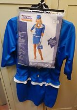 California Costumes Retro Stewardess Blue/White Dress Large (10-12) & Pins 119O