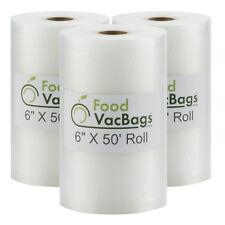 3 FoodVacBags 6x50 Vacuum Sealer Rolls Embossed for FoodSaver machines universal