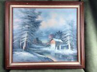 Vintage Rare Oil on Canvas Winter Landscape Mill Framed by H. Wilson Original