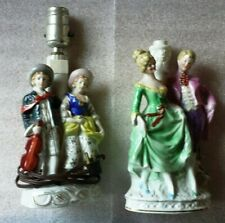 Pair Of Vintage Victorian Couple China Figural Lamps Made In Occupied Japan