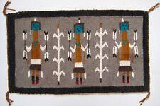 "Vintage Navajo Yei be Chai Rug 26""x15"" Yei Corn Arrows Native American"
