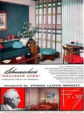 Frank Lloyd Wright TALIESIN LINE Schumacher Fabrics & Wallpapers CURTAIN 1955 Ad