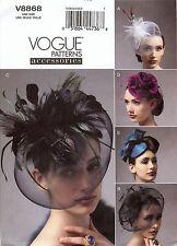 Vogue Accessories Hats 40s 50s PATTERN 8868 Hat Making Millinery Retro veils