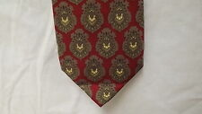 COACH Silk Neck Tie - Red w/Taupe Brown Cream Pattern - Italy