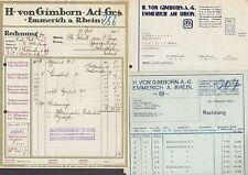 EMMERICH am Rhein, 1 x Brief + 2 x Rechnung, Tinten-Fabrik H. von Gimborn A.-G.