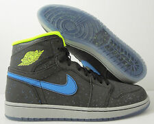 NIKE AIR JORDAN 1 RETRO HIGH BHM BLACK HISTORY VOLT-BLUE SZ 10 [579591-012]