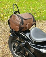 Sac sissi bar en Cuir de vachette Souple MARRON moto custom harley shadow VN